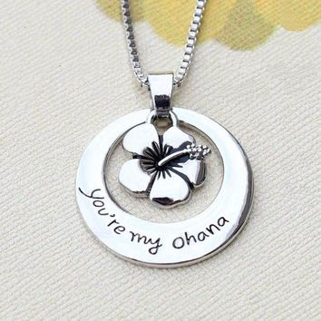 Silver Plt 'You'Re My Ohana' Lilo And Stitch Flower Means Family