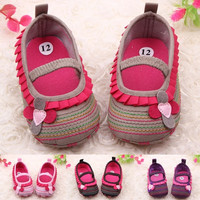 Sweet Newborn Baby Girl Retro Flower Ruffled Soft Crib Shoes Toddler Cotton Walk Shoes