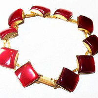 "Red Moon Glow Bracelet Princess Cut Links Gold Metal 6.5"" Vintage Mid Century"