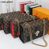 LV Louis Vuitton Fashion new print small square bag shoulder messenger bag chain bag