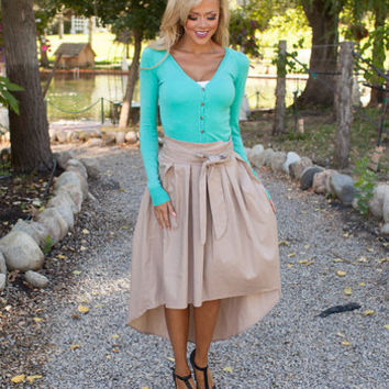Beauty High Low Skirt Khaki