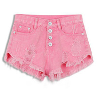 Ripped Fringed High Waist Denim Shorts
