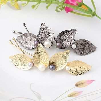Women Headwear Leaves Barrettes for Female Headbands Girls Hairpins Flower Hair Accessories Women Pearl with Leaves Hair  clips