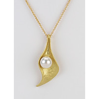 Pearl in Leaf Pod Necklace