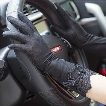 spring and summer women's Sunscreen long gloves female medium-long sexy lace gloves lady's long driving gloves