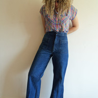 True Vintage 60s 70s Boho Hippie Seafarer High Waisted Bell Bottoms Dark Denim Jeans