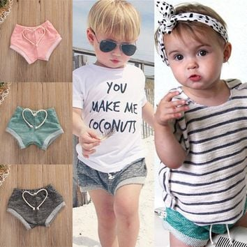 2017 Fashion Baby Boys Girls Cotton Shorts Bottoms Toddler Summer Bloomers 0-4T