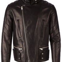 Balenciaga hidden hood collar biker jacket