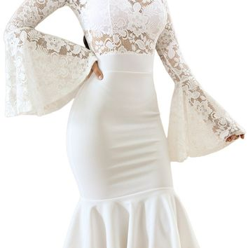 White Lace Bell Sleeve Mermaid Bodycon Party Dress