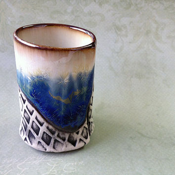 Sake Cup in White & Blue Crystalline Glaze, Handmade 3 Oz Cup for Sake, Espresso, One of a Kind Porcelain Pottery. 3in Tall. Food Safe