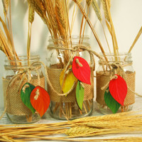 Autumn is Calling Trio of Mason Jars with cute colorful wooden leaves, jute tie and burlap jar wrap