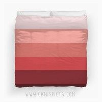 Ba-lush Ombre Duvet Twin XL Full King Queen size Pink Rose Red Bedroom Room Decor Decorative Geometric Pattern Pastel Blush Dark Mauve Dusty