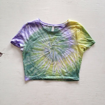 Tie Dye Crop Top Shirt Green Blue Tye Dyed Tumblr Rave Crop Top Size S