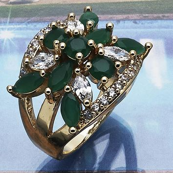 Gold Layered Women Multi Stone Ring, with Green Cubic Zirconia, by Folks Jewelry