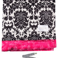 "Baby Laundry 91301 Soft Minky Black & White Dynasty Fuschia Baby Blanket 36""x30"" with Pacifier Clip"