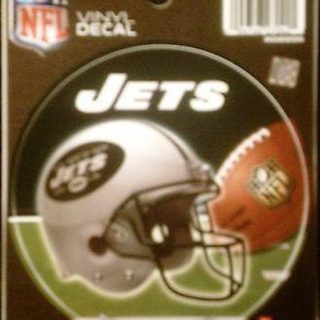 "New York Jets NY 4"" Round Decal Bumper Sticker Emblem Football Helmet Color"