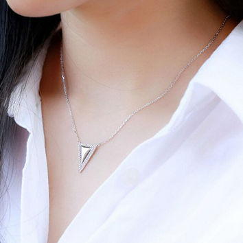 Womens Twinkle Sterling Silver Triangle Pendant Necklace + Gift Box Jewelry-58