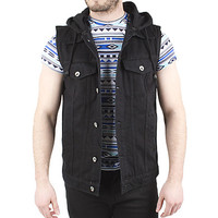 Guys Denim Vest With Hood