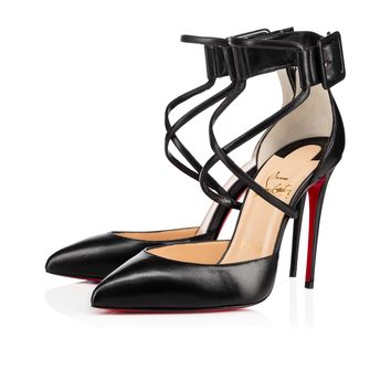 Suzanna 100 Black Leather - Women Shoes - Christian Louboutin