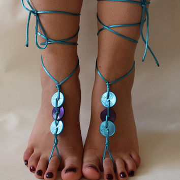 FREE SHİP Beach Wedding  Barefoot Sandals,Blue and Purple Button Sandals,Beach Sandals,Summer Shoes,Bridesmaid Gift, Christmas gift