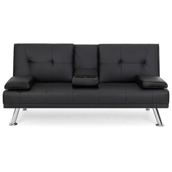 Black Faux Leather Convertible Sofa Futon with 2 Cup Holders