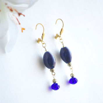 Earrings - Summer Earrings - Outdoor Wedding - Summer Wedding - Wedding Earrings - Bridal Shower - Wedding Guest - Cobalt Blue Electric Blue
