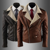 Sheep Fleece Biker Style Mens Fashion Leather Jacket