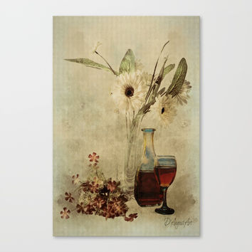 Wine And Wildflowers Canvas Print by Theresa Campbell D'August Art