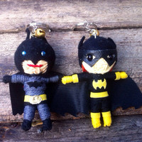 Batwoman Batman super heroes Voodoo String Doll Funny Keyring Keychain Key Ring Key Chain Bag Car