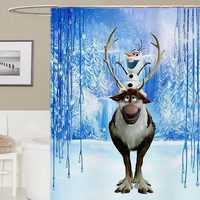 Olaf_and_sven custom shower curtain, curtains