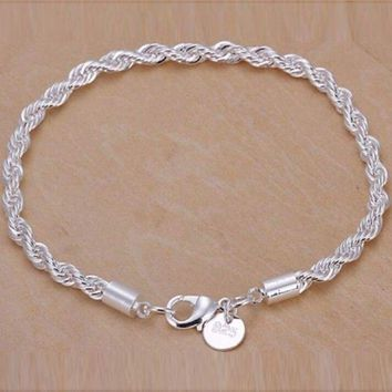 Women's 925 Sterling Silver Twisted Bracelet Chain Cuff Bangle Fashion Jewelry