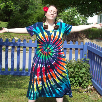 Tie Dye Dress - XL, 2XL, 3XL - Plus Size- Rainbow Tiger Tie Dye