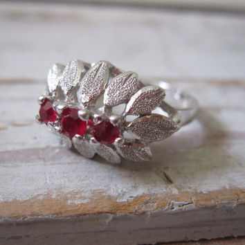 Sterling and Red Stone Ring