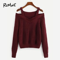 ROMWE Burgundy Cold Shoulder Solid Sweater Women Casual 2018 Autumn Winter Straps Plain Long Sleeve Clothing Spring Pullovers