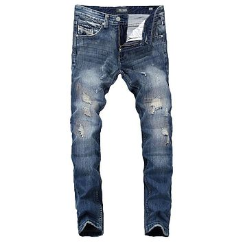 Summer  Brand Mens Jeans Blue Color Elastic Stretch Denim Ripped Jeans For Men Casual Pencil Pants Patchwork Skinny Jeans