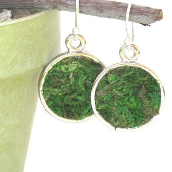 Moss Earrings, Terrarium Earrings, Eco Friendly, Terrarium Jewelry, Living Plant Jewelry, Gardener Gift