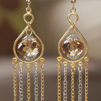 Chandeliers champagne crystal rondelle earrings with hanging chain dangles