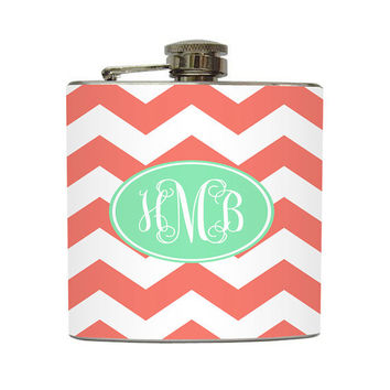 Coral Mint Chevron Monogram Flask Cursive Initial Personalized Striped Zig Zag Pattern - Stainless Steel 6 oz Liquor Hip Flask LC-1031