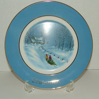 Enoch Wedgwood Avon Collectible Chirstmas Plate 1976 Bringing Home The Christmas Tree Vintage Wall Decor