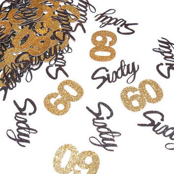 60th Birthday Confetti, 60th Anniversary Party Decorations, Number,  60 Party Supplies, Custom Colors, Glitter