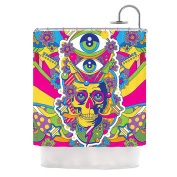 "Roberlan ""Skull"" Rainbow Illustration Shower Curtain"
