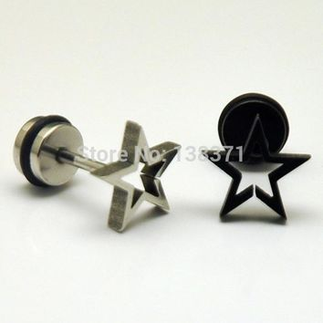 Hollow Stars White Black titanium steel Punk Men Screw stud earrings No fade