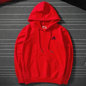 ADIDAS autumn and winter casual trend long-sleeved hooded sweater Red