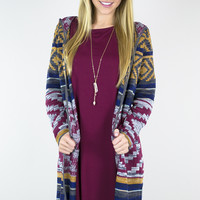 Fall Aztec Long Cardigan Sweater