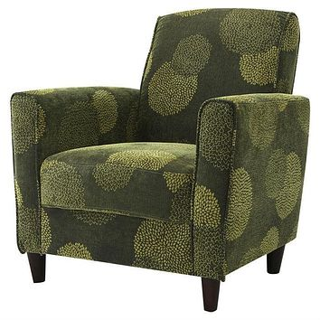 Contemporary Green Fabric Upholstered Flared Arm Accent Chair with Wood Legs