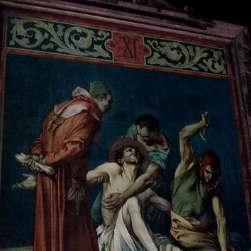 """Antique Eleventh Station of the Cross: """"Jesus is Nailed to the Cross"""""""