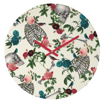 Belle13 Skulls Birds And Roses Round Clock