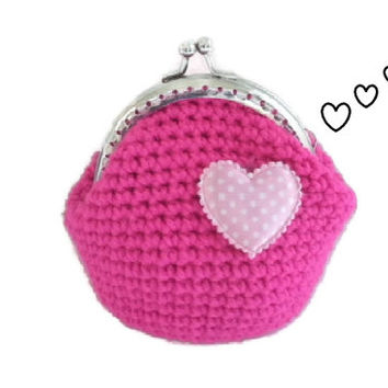 Crochet coin purse hot pink dot heart satin applique handmade silver tone kiss clasp metal frame women accessory gift teens wallet pouch