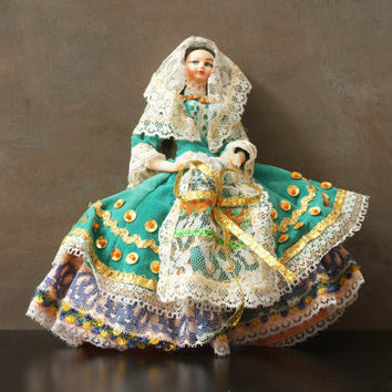 Fabric Doll, Spanish Doll, Souvenir Doll in Traditional Dress, Green and Antique White
