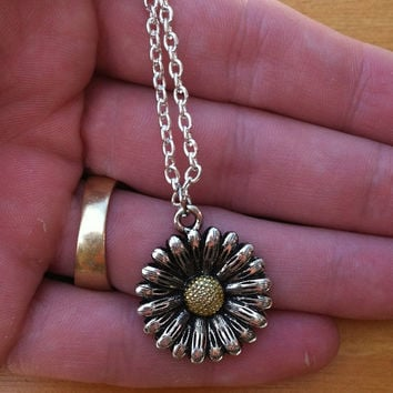 Daisy Flower Necklace - Silver and Gold Flower Pendant - Daisy Charm Necklace